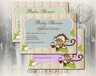 Monkey Baby Shower Invitation with polka dot background, baby bottles, gender neutral, boy baby shower, girl abby shower DIY Invitaiton