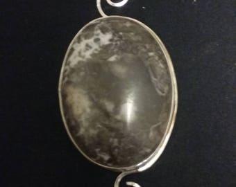 Jasper and silver pendant