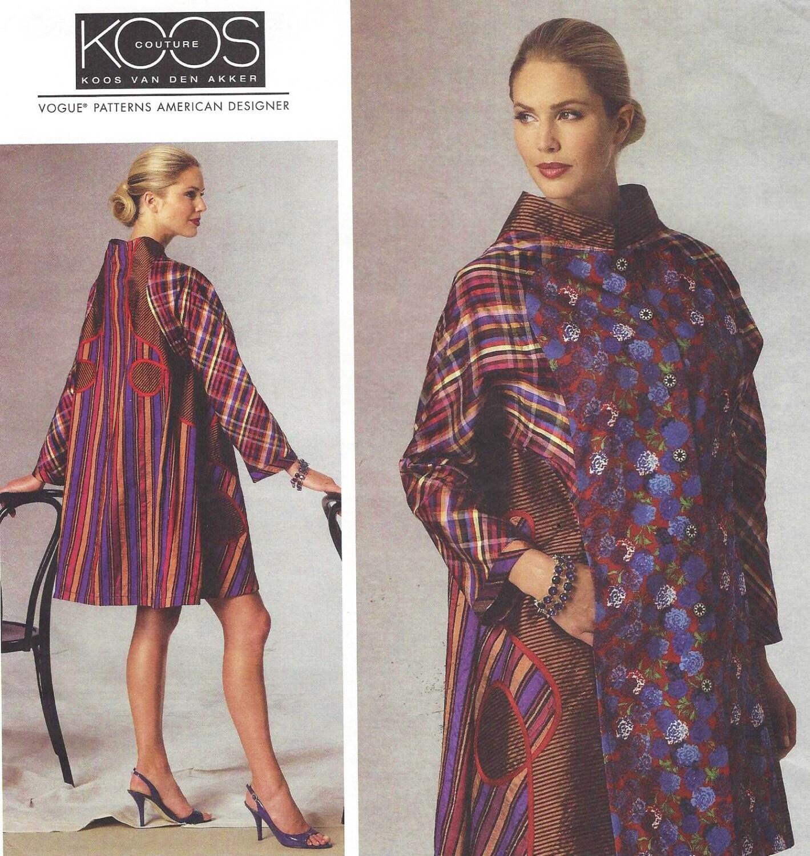 Koos Van Den Akker Womens Swing Coat Appliqued Vogue Sewing Pattern ...