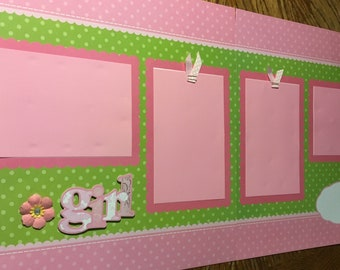 Free Shipping! Girl 12x12 Premade Scrapbook Pages Layout Baby pink