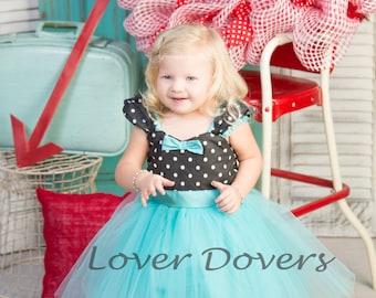 Girls dot dress, polka Dot dress,  Retro dress, aqua blue dress, ROCKABILLY dress for girls, I Love Lucy dress,  girls birthday dress