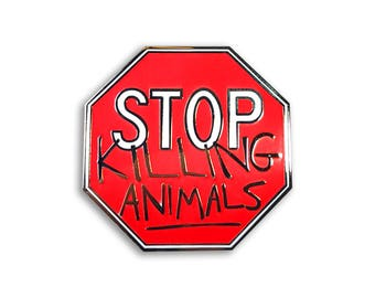Vegan Stop Sign Pin