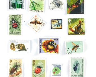 15 x Insect used postage stamps - all different, from 11 countries - Insects Ladybug Bees Dragonfly - off paper, used - stamp collecting