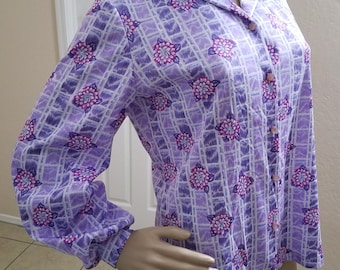 Vintage 1970's Purple and Pink Flower Trellis Polyester Long Sleeve Shirt Graff Californiawear