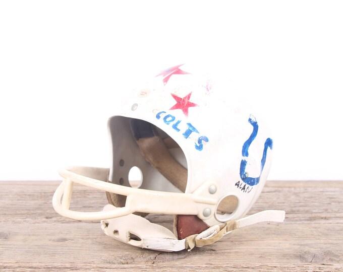 Featured listing image: Vintage Football Helmet / Kids Colts Helmet / Football Decor / Red White Helmet / Game Room / Antique Football Helmet / Indianapolis Colts