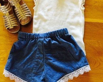 chambray girls shorts lace trim shorts chambray girls clothes, coachella girl clothes, summer clothes, baby girl beach wear, girls