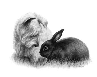 Custom Pet Portrait, Pet Drawing, Rabbit Drawing, Dog Portrait, Charcoal Portrait, Personalized Portrait, Drawing From Your Photo