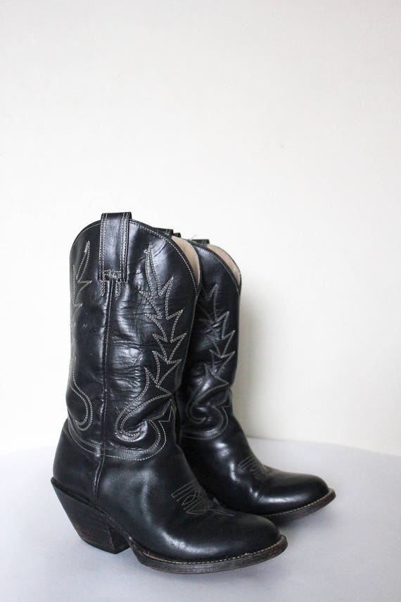 Boots 1980s Black Western Cowboy Leather Black Boots Boots Boots Vintage Black Cowboy dZw7q7X