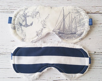 Men's Sleep Mask Set - Father's Day Gift - Nautical Sleep Masks - Eye Mask - Travel Eye Mask - Stocking Stuffer - Sleepwear  - Sleeping Mask
