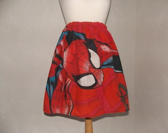 cute spiderman handmade skirt upcycled vintage fabric one size