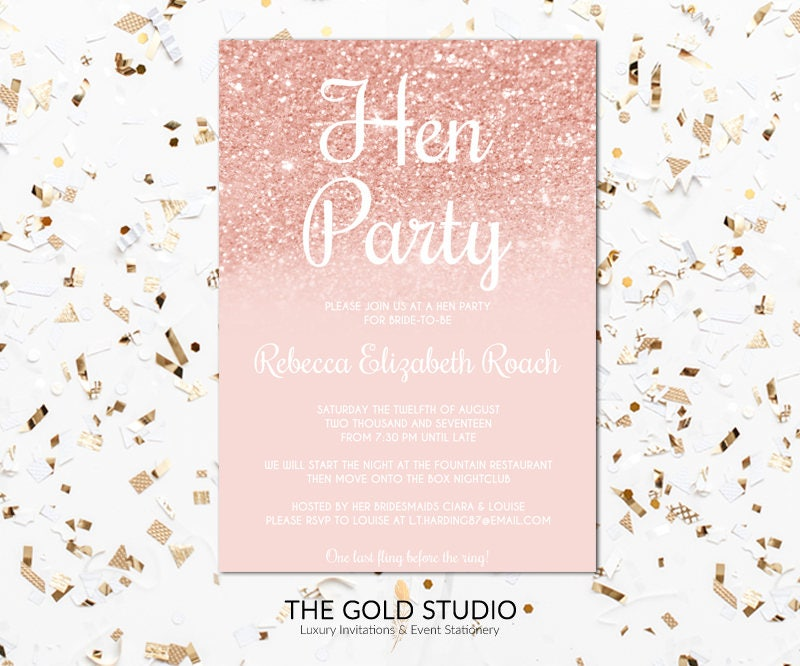 Hen Party Invitation | Rose Gold hen invite | Instant Download ...