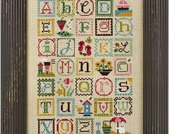 Lizzie Kate Summer Alphabet 148 Counted Cross Stitch Pattern Chart and Embellishments