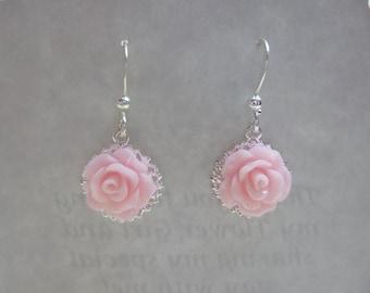 Rose Filigree Earrings, Rose Earrings, Wire Earrings, Flower Girl Earrings, Bridesmaid Earrings, Wedding Earrings, Birthday Gift