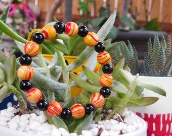 Wood & Obsidian Beaded Bracelet