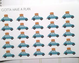 Planner Stickers Road Trip Cars for Erin Condren, Happy Planner, Filofax, Scrapbooking