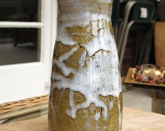 Rustic OOAK Heavy Wheel  thrown tall stoneware Vase, Ceramic Vase, Wedding Gift, Flower Vase, Handmade pottery, dancing glaze