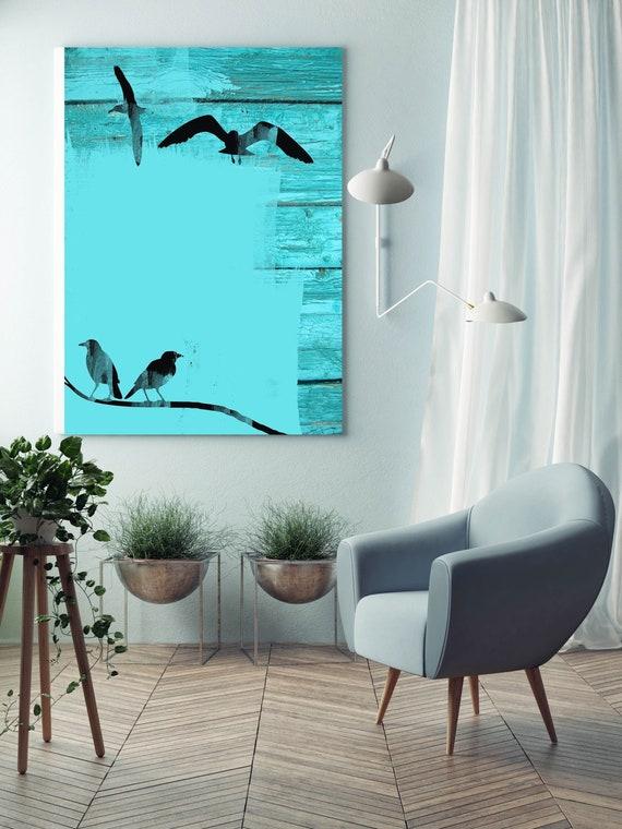 Birds in sky. Blue Rustic Canvas Art Print by Irena Orlov