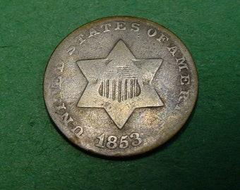 1853 Three Cent Silver -  Very Good / Fine - Nice Type Coin - The Coin You see is The Coin You Get  <>ET9921