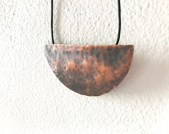 READY TO SHIP - Aged Half Moon pendant - hammered & oxidised copper pendant, hand made, suspended on leather cord