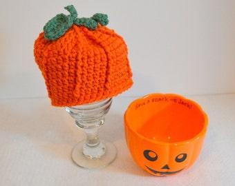 Baby Pumpkin Hat, Crochet Beanie, Halloween Costume, Newborn Photo Prop, Infant Pumpkin Costume, Made to Order