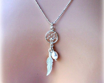 Pearl Sterling Silver Dreamcatcher - Bridal Necklace - JUNE BIRTHSTONE - Gift For Her