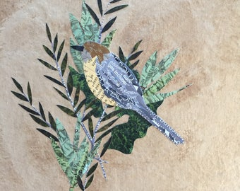Bushtit with Herbs - original art - mixed media collage