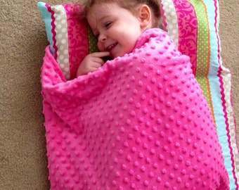"""Personalized 1"""" Memory Foam Preschool / Kinder Nap Mat in Multi Color Stripe with Pillow, and Minky Blanket"""