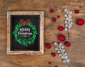 Christmas Chalkboard Printable Wreath Instant Download Merry Blackboard Farmhouse