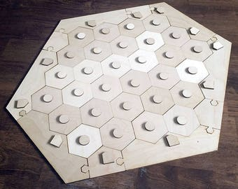 "Blank 5-6 Player Settlers of Catan Game Board and Tokens, Flat Style - Unfinished Birch Plywood 1/8"" or 1/4"""