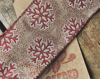 Delicious Christmas Linen Effect Wire Edged Ribbon - Red Bauble with Snowflake detail