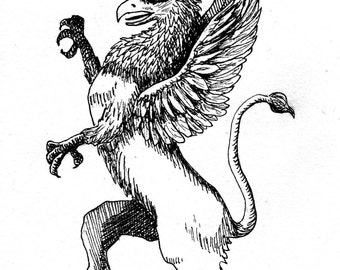 Griffin: Pen and ink drawing of mythical beast, half eagle, half lion, 5x7 wall art for fantasy collectors