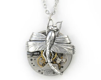 Steampunk Early1900's Waltham Pocket Watch Necklace