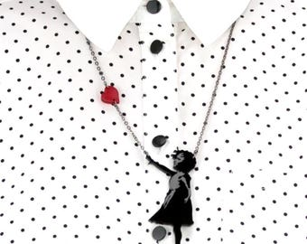 Banksy Girl with Floating heart Necklace