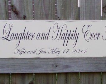 Love Laughter and Happily Ever After, Wedding Gift, Wedding Sign, Engagement Gift, Anniversary Gift, Wedding Decor, Happily Ever After Sign