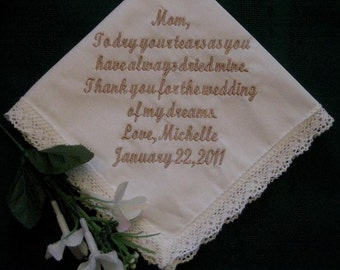 Bridal Ivory Wedding Handkerchief with gift box 9S -   Personalized Wedding Handkerchief - Bridal Party - Mother of the Bride