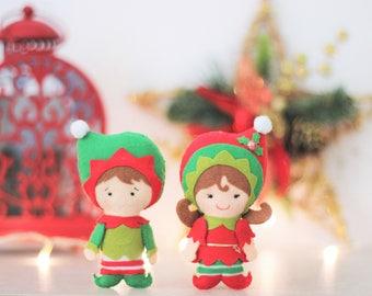 Christmas Elf, Christmas ornament, Christmas tree gift, felt Christmas doll, tree ornament, Christmas gift, Christmas pendants
