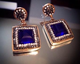 925 sterling silver Sapphire  earrings, Made in Turkey, Grand bazaar