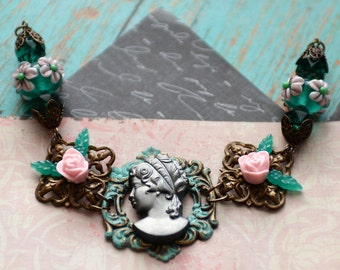 Cameo Bracelet, Pink Rose Bracelet, Lampwork Jewelry, Verdigris Brass, Pink and Green Bracelet, OOAK gift for her, SRAJD JewelryFineAndDandy