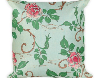 Floral Print Square Pillow, Roses in Aqua 18 inches by 18 inches