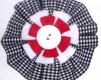 Fabric Flower Brooch or Pin in Black & White Gingham with White and Red Felt Accents - F2