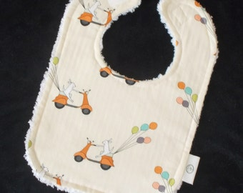 Cream Scooter Bunnies and Chenille Bib - SALE