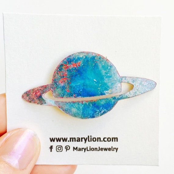 Your dominant planet - Saturn brooch - Planet nebula pin - Brooch galaxy - Astronomy pin - Planets fashion jewelry - Saturn colorful pin