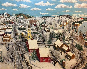 Season's Greeting card: 'New England Village in Winter'