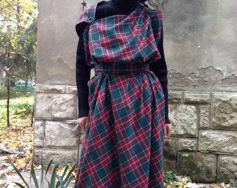 Asymmetrical Tartan dress pinafore, oversized dress, plaid dress, Royal Stewart tartan dress, Lagenlook dress