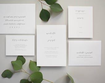 Delicate Minimalist Wedding Invitation Sample / Letterpress or Digital Printing / #1127