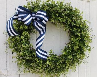 Summer Wreath, Boxwood Wreath, Farmhouse Decor, Navy Blue Wreath, Nautical Wreath, Front Door Wreath, Patriotic Wreath, Green Wreath, Wreath