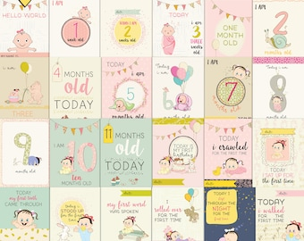 baby girl first moments- Journal Cards - Instant Download Printable journaling cards for Project Life and digital scrapbooking