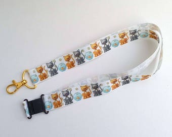 Cat Lanyard / ID badge holder with safety clasp / cat lover gift / animal lover gift / tabby cat gift /  cat birthday / cat key chain