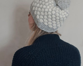 Polka-Dot Hat with Pom Pom - hand-knit of pure Alpaca yarn, super soft and warm, available in 12 different colors