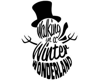 Digi-tizers Snowman Wordart Walking in a winter wonderland (SVG Studio V3 JPG)